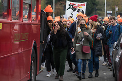 Uxbridge, UK. 16 November, 2019. Activists from FckBoris, a collective comprising many young women of colour, and other student-led groups hold a Kick Boris Out parade in Prime Minister Boris Johnson's constituency of Uxbridge and South Ruislip with aim of urging young, working-class and ethnic-minority voters to register to vote in the forthcoming general election whilst also protesting against the timing of an election during a vacation period which makes it difficult for university students to vote.