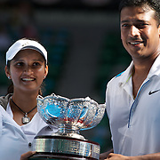 Sania Mirza and Mahesh Bhupathi from India winning the Mixed doubles title defeating Andy Ram (Isr) and Nathalie Dechy (Fra) 6-3, 6-1 at the Australian Tennis Open on February 1, 2009 in Melbourne, Australia. Photo Tim Clayton    .