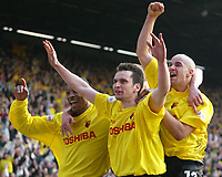 Photo: Scott Heavey<br />Watford V Burnley. 09/03/03.<br />Stephen Glass celebrates with Micah Hyde (left) and Gavin Mahon scoring Watfords second during this FA Cup quarter final between these two first division teams.