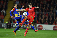 Sam Vokes of Wales controls the ball. Wales v Andorra, Euro 2016 qualifying match at the Cardiff city stadium  in Cardiff, South Wales  on Tuesday 13th October 2015. <br /> pic by  Andrew Orchard