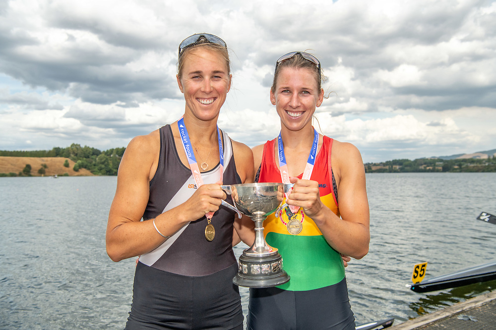 Brooke Donoghue and Emma Twigg <br /> <br /> NZ National Club Rowing Championships, Lake Karapiro, Cambridge, New Zealand. Friday 21st February 2020.  Copyright photo © Steve McArthur / www.photosport.nz