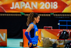 06-10-2018 JPN: World Championship Volleyball Women day 7, Nagoya<br /> Press conference coaches group Nagoya after training day for Netherlands and Brazil / Amanda Francisco #13 of Brazil