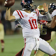 Mississippi Rebels quarterback Chad Kelly (10) attempts a pas during an NCAA football game between the Ole Miss Rebels and the Florida State Seminoles at Camping World Stadium on September 5, 2016 in Orlando, Florida. (Alex Menendez via AP)