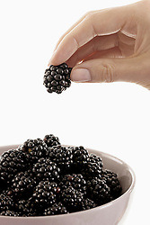 Woman taking a blackberry from a bowl, Bavaria, Germany