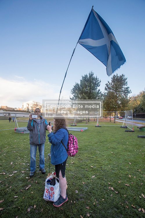 The Scottish Independence camp (Indy Camp) has been evicted from the grounds of the Scottish Parliament.<br /> <br /> Pictured: Protestors recording video to social media of eviction