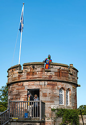 Dirleton, East Lothian, Scotland, United Kingdom, Dirleton Castle reopens: Historic Environment Scotland reopens more of their properties. Even the dummy Medieval knight wears a face mask. The castle will be open Sat-Mon each week. <br /> Sally Anderson | EdinburghElitemedia.co.uk