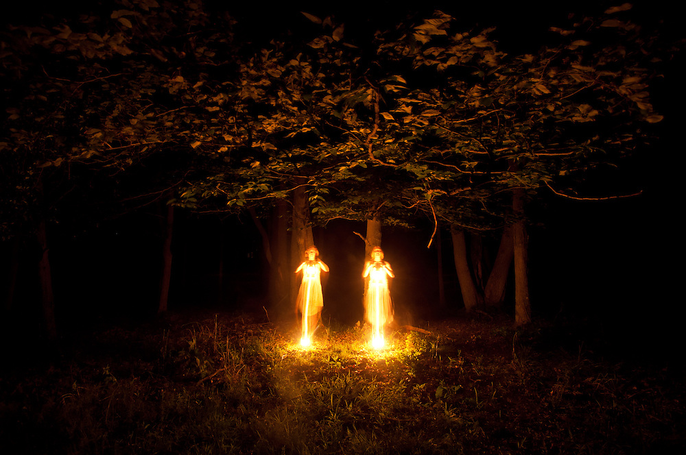 Long Exposure and light painting performance art images of artists Janelle Pietrzak aka Explored Exposure and Aloyse Blair Brown.