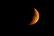 The moon turns red from wildfire smoke as seen near Tonasket, Washington Thursday August 20, 2015.<br /> <br /> Bettina Hansen / The Seattle Times