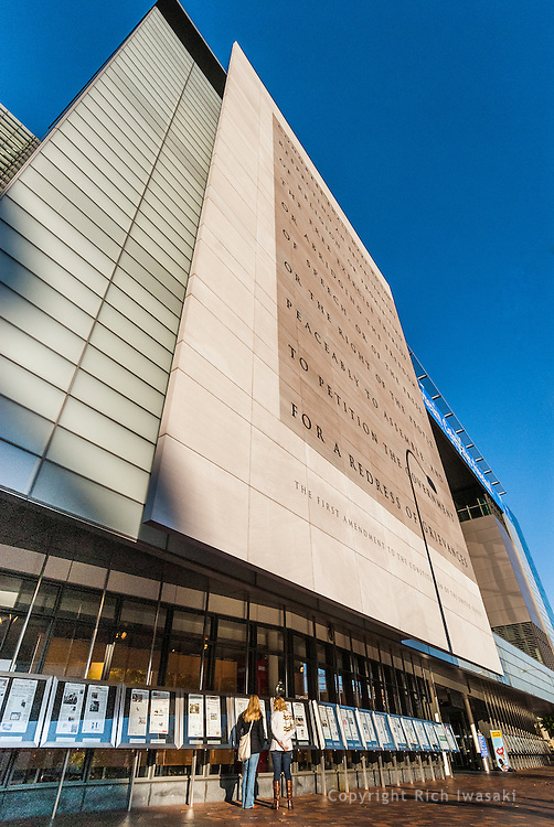 Low angle view of the Newseum building exterior, Pennsylvania Avenue, Washington, DC