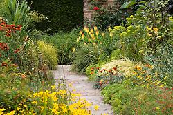 Hot borders in the Cottage Garden at Sissinghurst Castle