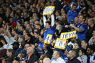 French fans celebrating a try during the Rugby World Cup Pool D match between France and Romania at the Queen Elizabeth II Olympic Park, London, United Kingdom on 23 September 2015. Photo by Matthew Redman.