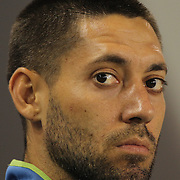 Clint Dempsey, Seattle Sounders, on the bench before the start of the New York Red Bulls Vs Seattle Sounders, Major League Soccer regular season match at Red Bull Arena, Harrison, New Jersey. USA. 20th September 2014. Photo Tim Clayton