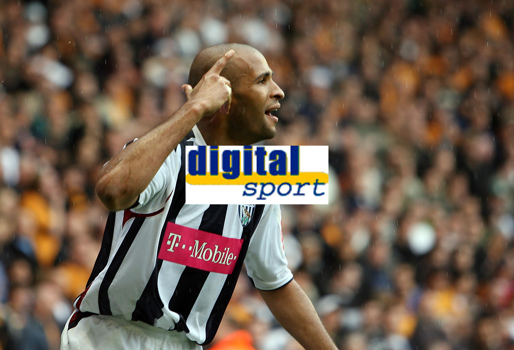 Photo: Rich Eaton.<br /> <br /> Wolverhampton Wanderers v West Bromwich Albion. Coca Cola Championship. Play off Semi Final, 1st Leg. 13/05/2007. West Broms Diomansy Kamara scores in the second half to make it 3-2 and celebrates