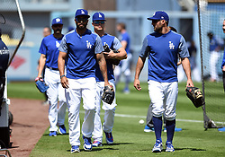 March 29, 2018 - Los Angeles, CA, U.S. - LOS ANGELES, CA - MARCH 29: Los Angeles Dodgers Outfield Matt Kemp (27), Los Angeles Dodgers Outfield Joc Pederson (31), and Los Angeles Dodgers Outfield Chris Taylor (3) walk on the field for batting practice prior to the MLB opening day game between the San Francisco Giants and the Los Angeles Dodgers on March 29, 2018 at Dodger Stadium in Los Angeles, CA. (Photo by Chris Williams/Icon Sportswire) (Credit Image: © Chris Williams/Icon SMI via ZUMA Press)