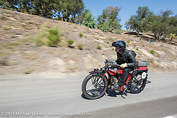 William Story riding his 1913 Excelsior on the last day of the Motorcycle Cannonball Race of the Century. Stage-15 ride from Palm Desert, CA to Carlsbad, CA. USA. Sunday September 25, 2016. Photography ©2016 Michael Lichter.