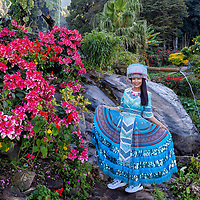 Pare in a local traditional costume at the tribal village of Doi Pui, located in Chiang Mai, Thailand.