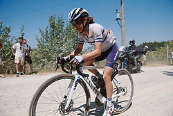 Omer Shapira (ISR) solo at Strade Bianche - Elite Women 2020, a 136 km road race starting and finishing in Siena, Italy on August 1, 2020. Photo by Sean Robinson/velofocus.com