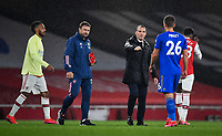 Football - 2019 / 2020 Premier League - Arsenal vs. Leicester City<br /> <br /> Leicester City manager Brendan Rodgers fist bumps Dennis Praet after the 1-1 draw, at the Emirates Stadium.<br /> <br /> COLORSPORT/ASHLEY WESTERN