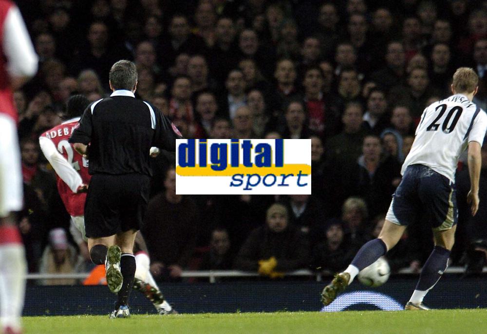 Photo: Olly Greenwood.<br />Arsenal v Tottenham Hotspur. Carling Cup Semi Final 2nd leg 31/01/2007. Arsenal's Emmanuel Adebayor scores
