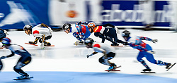 Sjinkie Knegt in action on the 5000 meter relay during ISU World Cup Finals Shorttrack 2020 on February 15, 2020 in Optisport Sportboulevard Dordrecht.