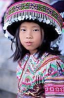 France, Guyane, village de Cacao, jeune femme Hmong venue du Laos pendant la fete du nouvel an // Cacao village, Hmong (from Laos) ethnic group, New year festival, French Guyane, France