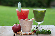 Fruit Smoothies - watermelon (left) grapes (right) nuts (centre)
