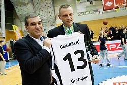 Roman Volcic and Grubelic during Slovenian basketball All Stars Grosuplje 2013 event, on December 29, 2013 in Arena Brinje, Grosuplje, Slovenia. (Photo By Urban Urbanc / Sportida.com)