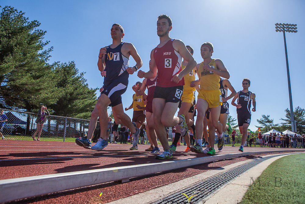 men's 10,000 meters at the NJAC Track and Field Championships at Richard Wacker Stadium on the campus of  Rowan University  in Glassboro, NJ on Saturday May 4, 2013. (photo / Mat Boyle)