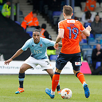 Blackpool's Neil Danns chases down Luton Town's Oliver Lee<br /> <br /> Photographer David Shipman/CameraSport<br /> <br /> The EFL Sky Bet League Two - Luton Town v Blackpool - Saturday 1st April 2017 - Kenilworth Road - Luton<br /> <br /> World Copyright © 2017 CameraSport. All rights reserved. 43 Linden Ave. Countesthorpe. Leicester. England. LE8 5PG - Tel: +44 (0) 116 277 4147 - admin@camerasport.com - www.camerasport.com