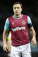 Mark Noble, the West Ham United Captain looks on. The Emirates FA cup, 4th round replay match, West Ham Utd v Liverpool at the Boleyn Ground, Upton Park  in London on Tuesday 9th February 2016.<br /> pic by John Patrick Fletcher, Andrew Orchard sports photography.
