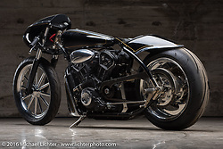 Custom LSR (Land Speed Racer) Indian Scout by Jeb Scolman at the Handbuilt Show. Austin, TX, USA. April 7, 2016.  Photography ©2016 Michael Lichter.