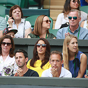 LONDON, ENGLAND - JULY 16: The Family box of Martina Hingis of Switzerland and Jamie Murray of Great Britain during the Mixed Doubles Final on Center Court during the Wimbledon Lawn Tennis Championships at the All England Lawn Tennis and Croquet Club at Wimbledon on July 16, 2017 in London, England. (Photo by Tim Clayton/Corbis via Getty Images)
