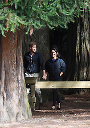 Prince Harry Duke of Sussex, Meghan Duchess of Sussex at the Redwoods Tree Walk in Rotorua on day four of the royal couple's tour of New Zealand. Photo credit should read: Doug Peters/EMPICS