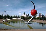 Cherry on spoon fountain sculpture at the Walker Art Center Sculpture Garden.  Minneapolis Minnesota USA