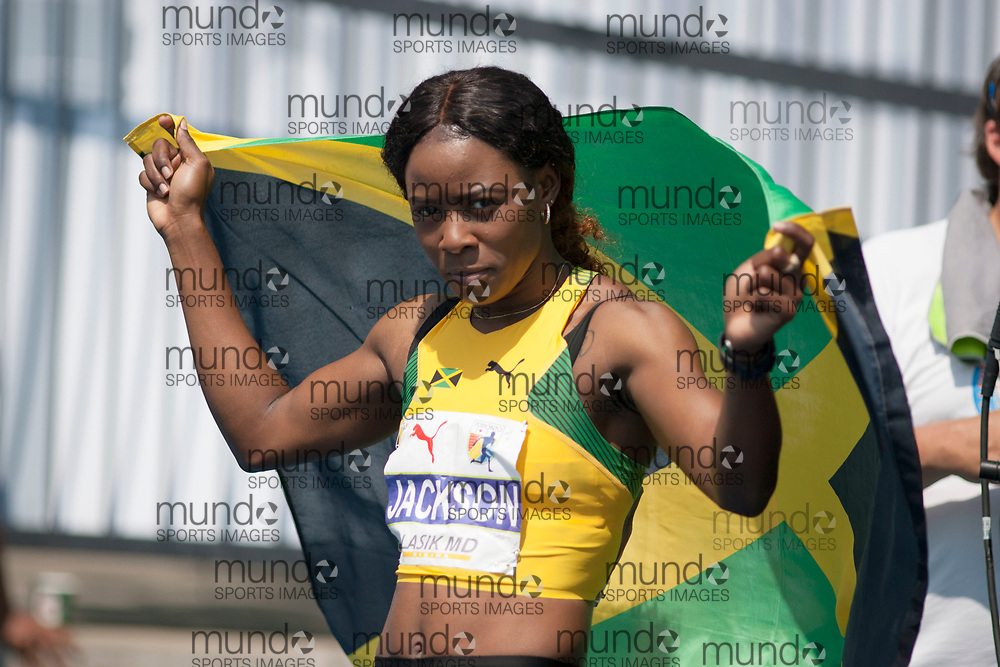 Toronto, ON -- 12 August 2018: Shericka Jackson (Jamaica), 200m final at the 2018 North America, Central America, and Caribbean Athletics Association (NACAC) Track and Field Championships held at Varsity Stadium, Toronto, Canada. (Photo by Sean Burges / Mundo Sport Images).
