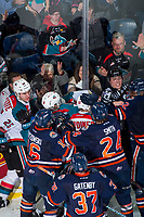 KELOWNA, CANADA - FEBRUARY 24: The Kamloops Blazers get in the face of the Kelowna Rockets at the end of the game as ice officials try to intervene on February 24, 2018 at Prospera Place in Kelowna, British Columbia, Canada.  (Photo by Marissa Baecker/Shoot the Breeze)  *** Local Caption ***
