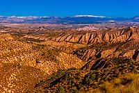 Badlands, seen from the Mirador Cueva los Amos viewpoint , near Castillejar, Granada Province, Andalusia, Spain.
