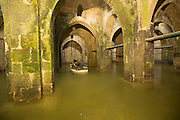 Israel, Ramla, The Pool of Arches, an underground water cistern. Also known as St. Helen's Pool, it was built during the reign of the caliph Haroun al-Rashid in 789 CE (the early Islamic period) to provide Ramla with a steady supply of water