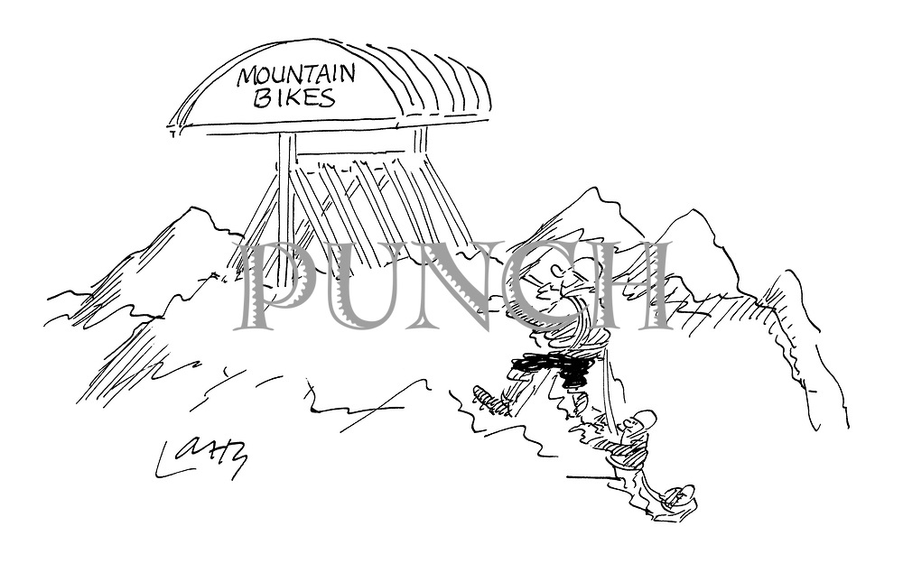 (Mountaineers discover a mountain bike rack at the top of a sheer cliff)