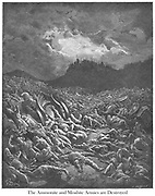Ammonites and Moabites armies are destroyed 2 Chronicles 20:22-23 From the book 'Bible Gallery' Illustrated by Gustave Dore with Memoir of Dore and Descriptive Letter-press by Talbot W. Chambers D.D. Published by Cassell & Company Limited in London and simultaneously by Mame in Tours, France in 1866