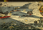Torpedo attacks at the Battle of Weihaiwei [Wei-hai-wei] It took place between 20 January and 12 February 1895 in Weihai, Shandong Province, China between the forces of the Japan and Qing China. In early January 1895, the Japanese landed forces in eastern Shandong[1] positioning forces behind the Chinese naval base at Weihaiwei. From the book 'Scenes from the Japan-China War' by Inouye, Jukichi, 1862-1929; Yamamoto, Eiki, illustrator. Published in Tokyo in 1895 with English Text. The First Sino-Japanese War (25 July 1894 – 17 April 1895) was a conflict between the Qing dynasty of China and the Empire of Japan primarily over influence in Joseon Korea. After more than six months of unbroken successes by Japanese land and naval forces and the loss of the port of Weihaiwei, the Qing government sued for peace in February 1895.