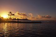 Sunrise, Diamond Head, Waikiki, Oahu, Hawaii<br />