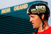 Erik Roner of Nitro Circus talks to the media after base jumping off The Signature at the MGM Grand Hotel & Casino on Wednesday June 1, 2011 in Las Vegas to promote the North American debut of Nitro Circus Live at the MGM Grand Garden Arena on Saturday June 4, 2011. (Jeff Bottari/AP Images for Nitro Circus Live)