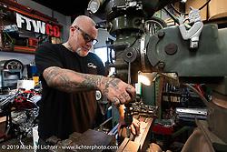 Chopper Dave Frestonchopp at his shop. Hawaiian Gardens, CA. USA. Tuesday June 26, 2018. Photography ©2018 Michael Lichter.