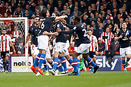 Blackburn Rovers players celebrate a goal (score 0-1) during the EFL Sky Bet Championship match between Brentford and Blackburn Rovers at Griffin Park, London, England on 7 May 2017. Photo by Andy Walter.
