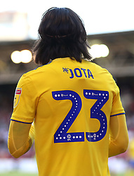 Close up of the Mind Charity branding on the back of Birmingham City's Jota shirt