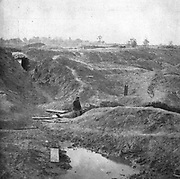 Battle of the Crater in July 1864 from the book ' The Civil war through the camera ' hundreds of vivid photographs actually taken in Civil war times, sixteen reproductions in color of famous war paintings. The new text history by Henry W. Elson. A. complete illustrated history of the Civil war
