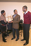 """Brenda Braxton and Anthony Van Putten of B.Braxton presents Giancarlo Esposito, with Gift Basket from B.Braxton's , at """" Cat on a Hot Tin Roof """" Press conference announcing limited broadway run,  at Broad Hurst Theater on January 8, 2008 in New York City"""