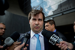 August 3, 2017 - Sao Paulo, Sao Paulo, Brazil - Brazilian Deputy RODRIGO MAIA, President of the Lower House, had his hair disheveled with the strong wind during a press interview, outside an economic meeting in a hotel in Sao Paulo on Thursday. (Credit Image: © Paulo Lopes via ZUMA Wire)