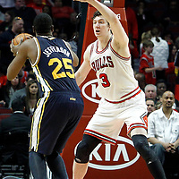 10 March 2012: Chicago Bulls center Omer Asik (3) defends on Utah Jazz center Al Jefferson (25) during the Chicago Bulls 111-97 victory over the Utah Jazz at the United Center, Chicago, Illinois, USA.